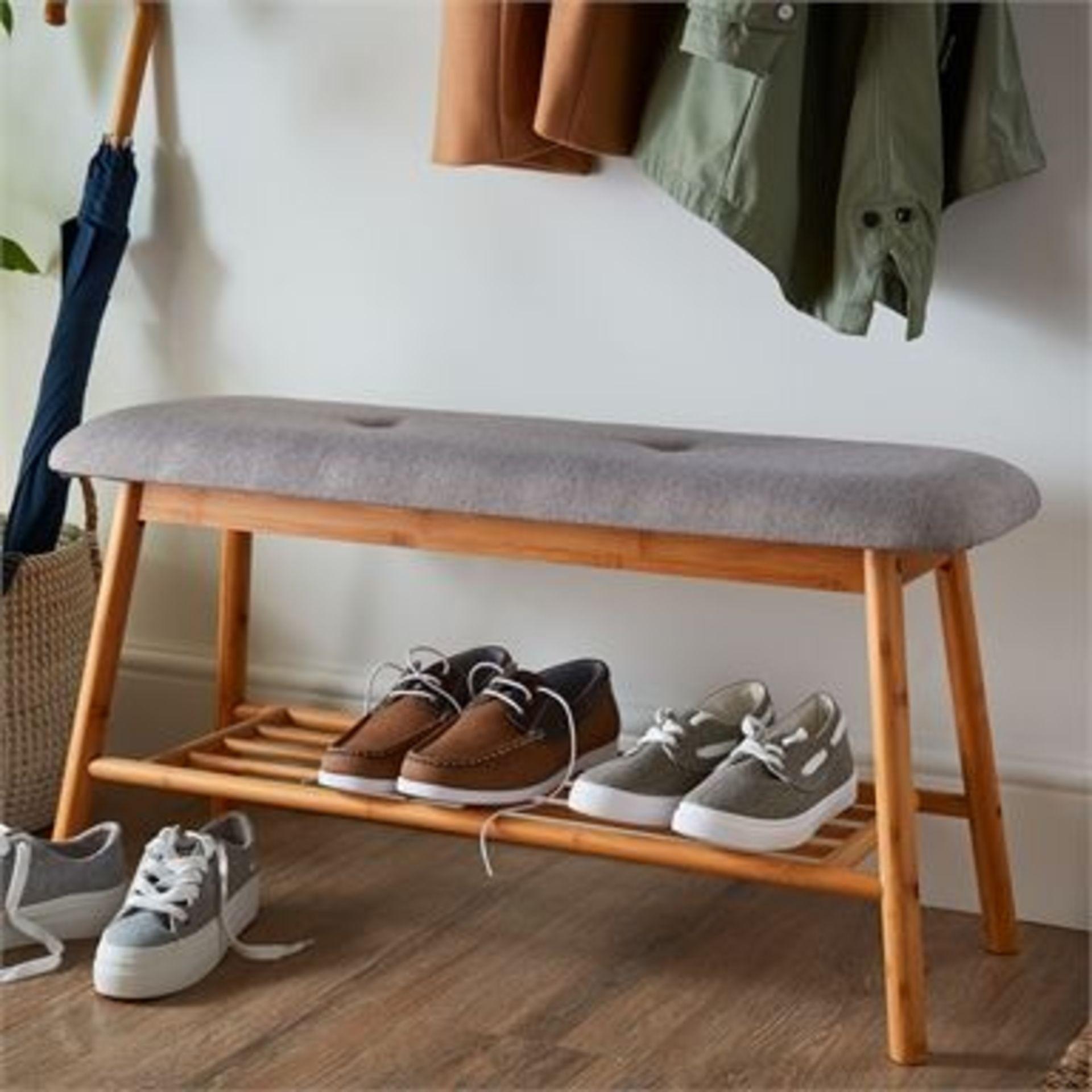 (3E) 2x Items. 1x Living Elements Bamboo Shoe Bench With Grey Cushion Seat. 1x VidaXL.com Radiator