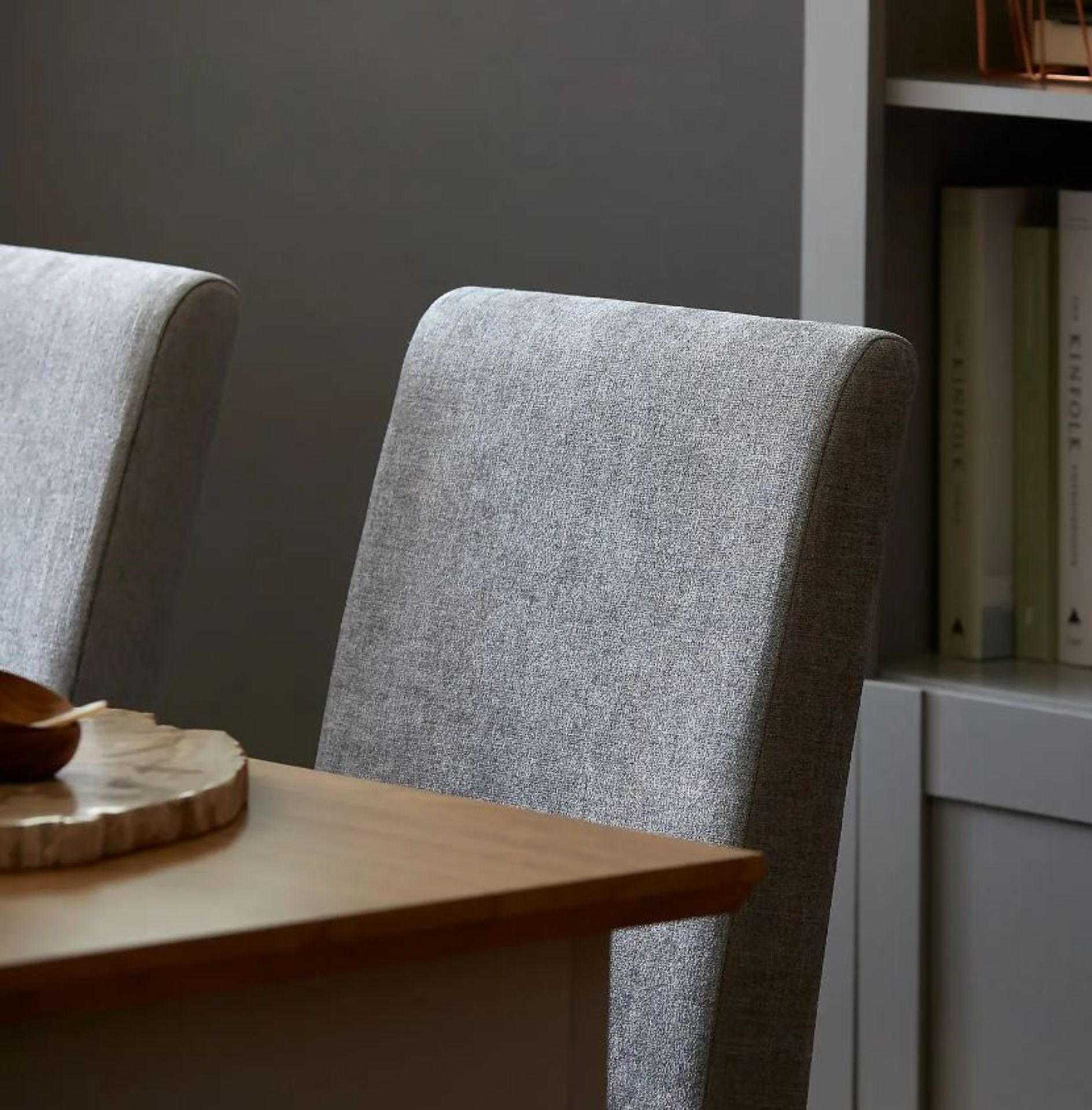 (4P) 1x Diva Dining Chairs. Grey Upholstered Seats. Solid Rubberwood Legs. Unit Complete With Fixing - Image 2 of 3