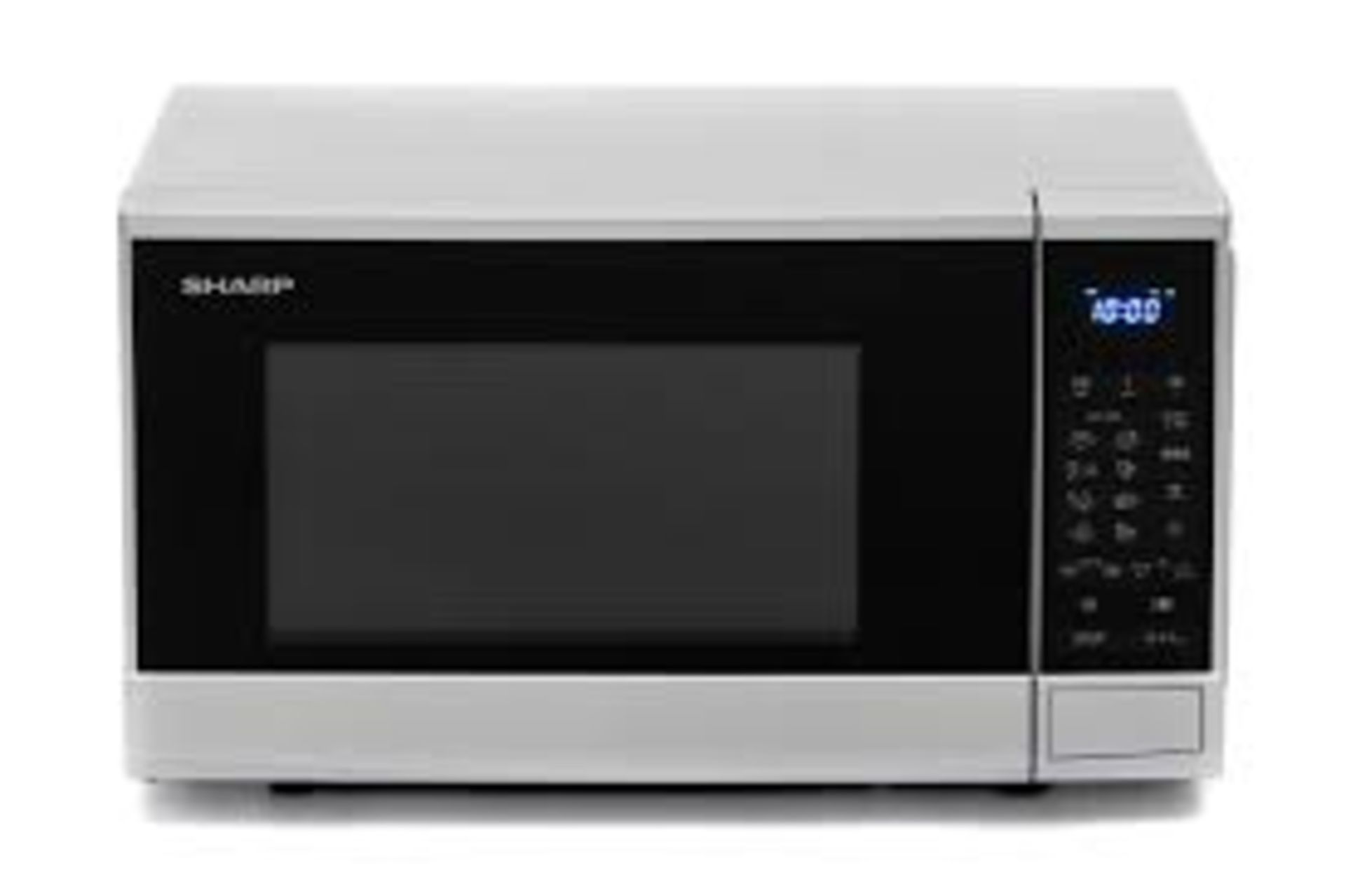 (15) 1x Sharp Microwave Oven Silver RRP £80. 800W, 20L, Weight / Time Defrost, Child Lock & Kitchen