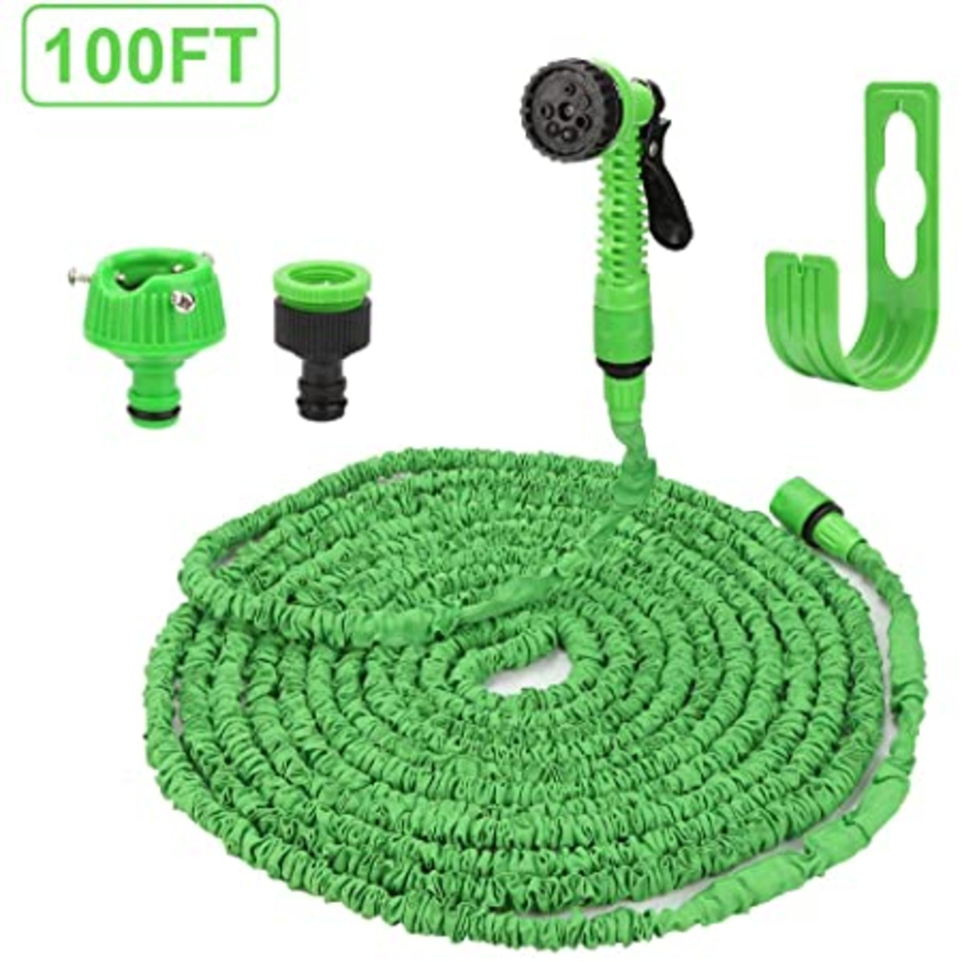 (3F) Contents Of Cage & Floor. A Quantity Of Mixed Size Expandable Garden Hose To Inc 30m & 15m.