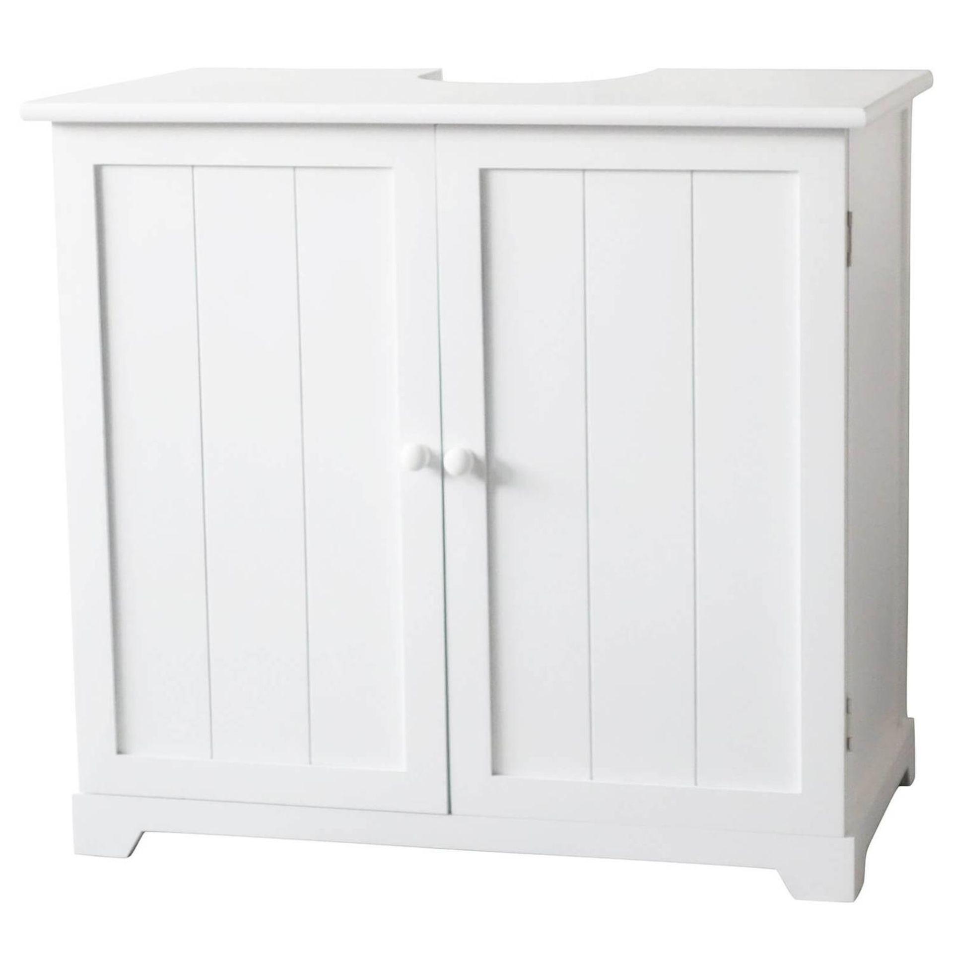 (P3) 1x White Classic Under Sink Double Unit. Paulownia Wood. White Painted Finish. 2 Doors, 1 Shel