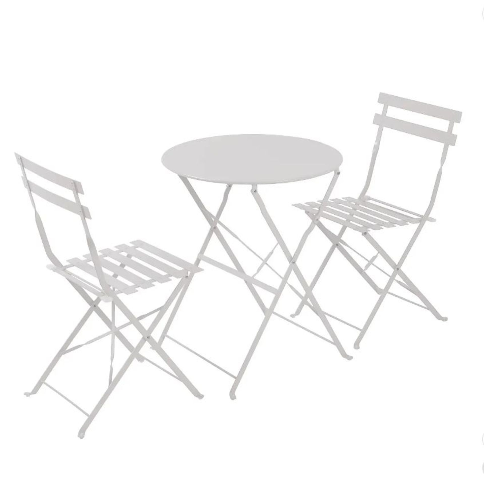 (P3) 1x Lazio Bistro Set Grey. Powder Coated Steel Frame. All Units Foldable For Easy Storage. (T
