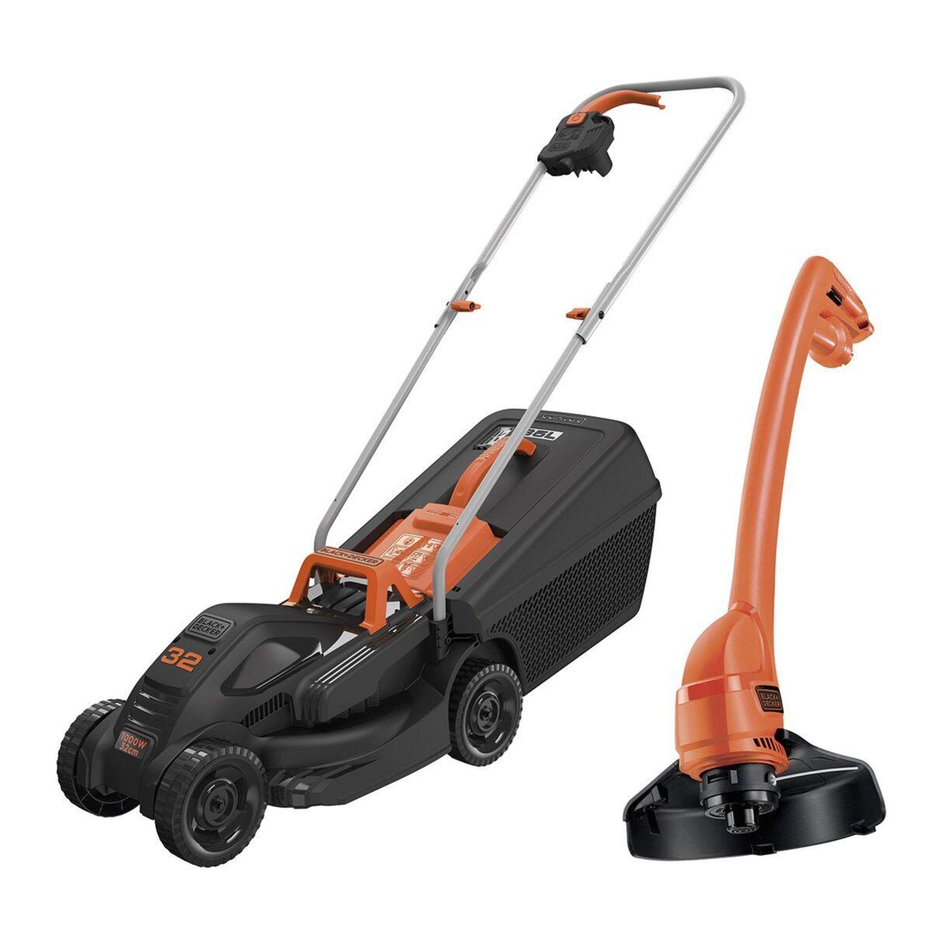 (P2) 1x Black & Decker 32cm 1000W Corded Lawn Mower & Strimmer RRP £99. Contents Appear Clean, Unu