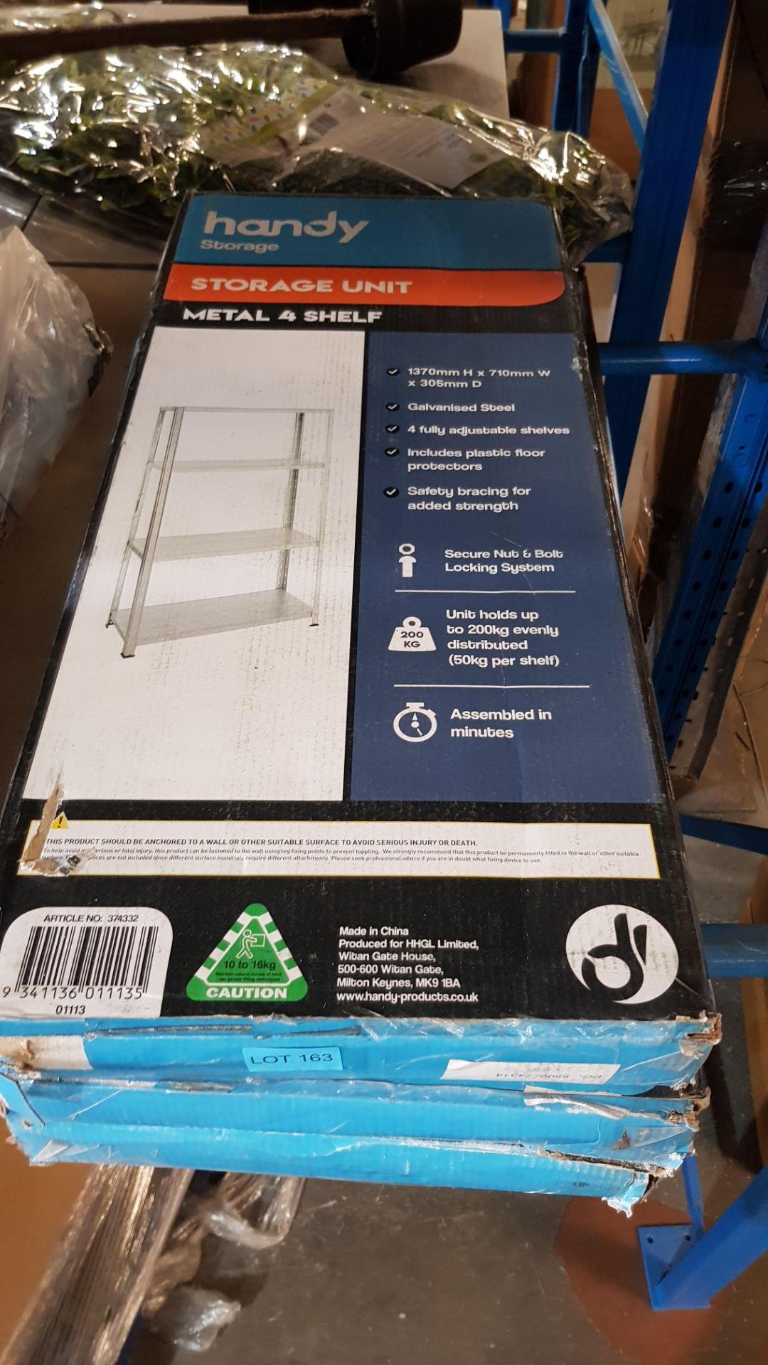 (3A) 3x Handy Storage Storage Unit Metal 4 Shelf (H1370x W710x D305mm) - Image 3 of 3