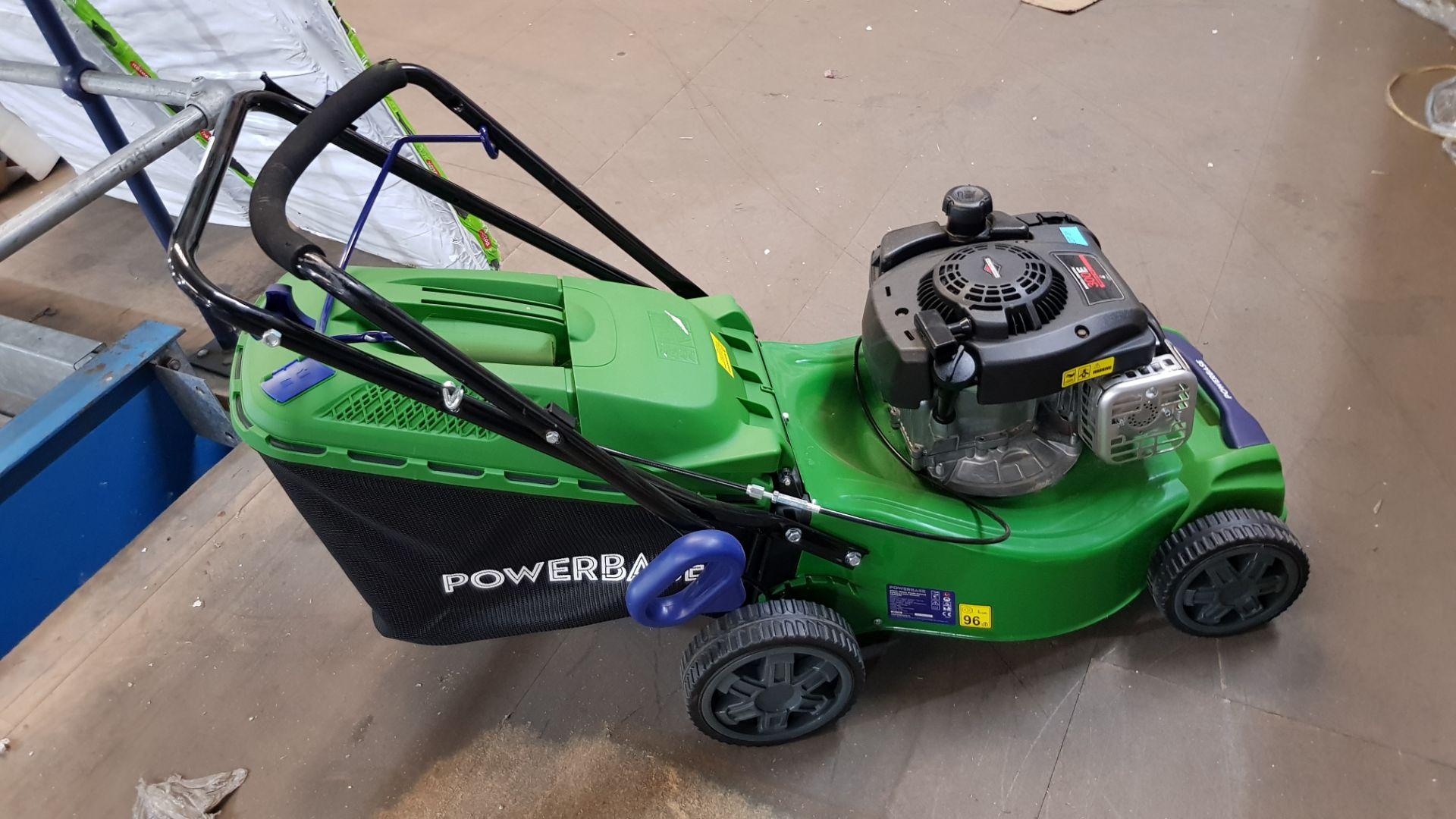 (P10) 1x Powerbase 41cm 125cc Push Petrol Rotary Lawn Mower (XSS41D) RRP £199. New, Clean Unused I - Image 5 of 8