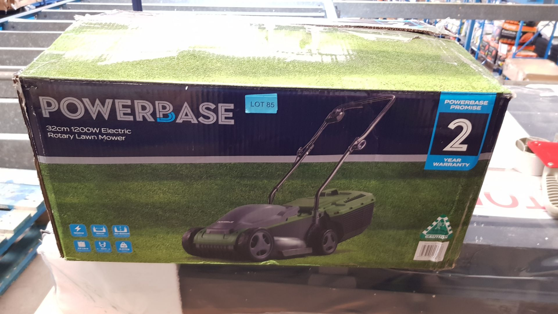 (P3) 1x Powerbase 32cm 1200W Electric Rotary Lawn Mower RRP £59. (Unit Appears Clean, Unused & As - Image 3 of 4