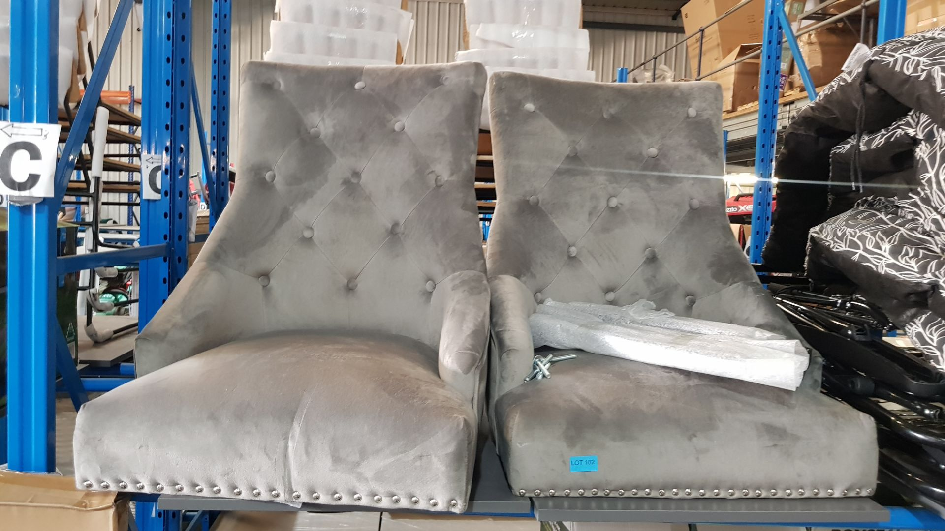 (3B) 2x Annabelle Velvet Ding Chairs Grey (RRP £150 When Complete). 1x With Legs & Loose Fixings. - Image 3 of 5