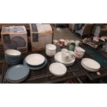 38x Mixed Dinner / Drink Items. 11x Stoneware 2 Tone Dinner Set Items. 15x {Porcelain Marble Effe
