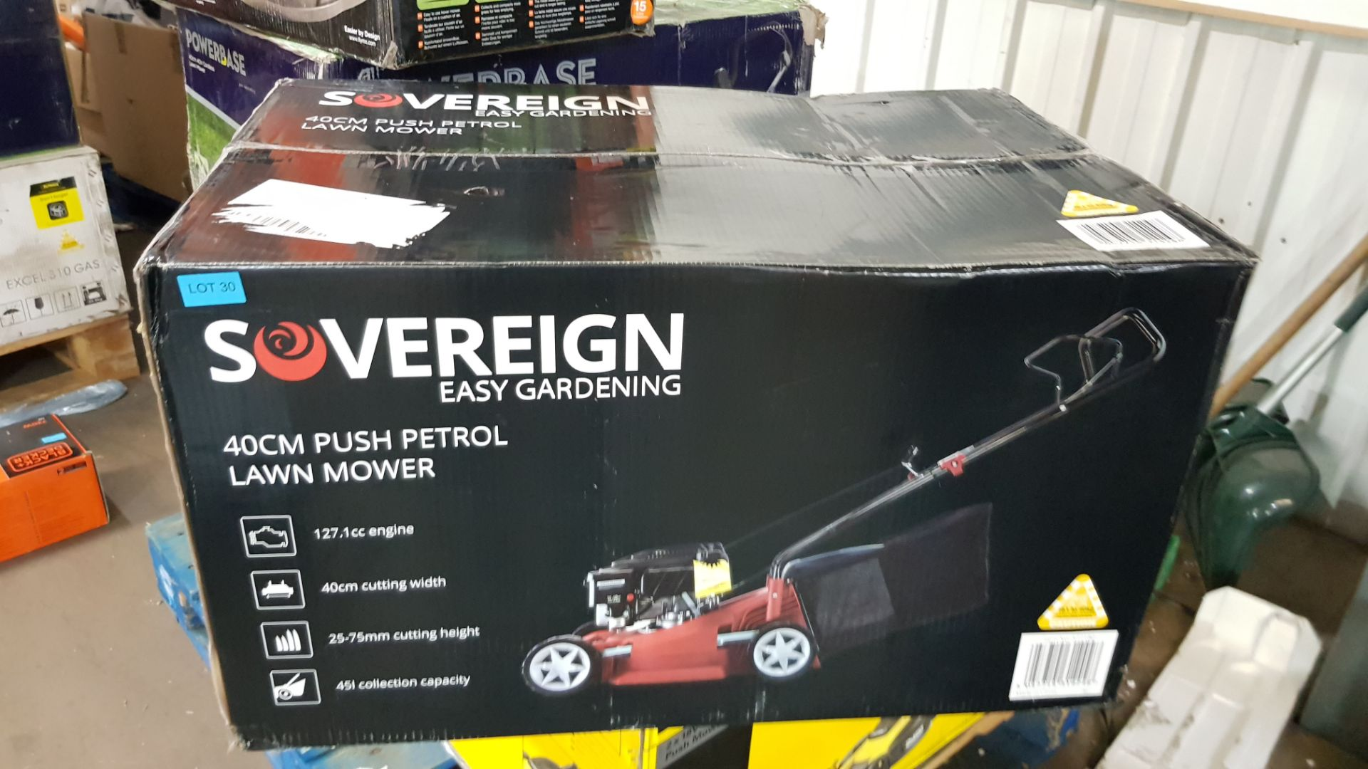 (P10) 1x Sovereign 40cm Push Petrol Lawn Mower 127cc RRP £125. New, Sealed Item With Damage To Box - Image 3 of 5