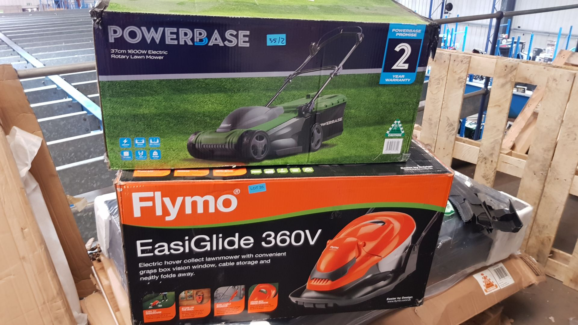 (P10) 2x Items. 1x Flymo EasiGlide 360V Electric Hover Collect Lawnmower RRP £139. 1x Powerbase 37 - Image 3 of 3