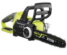 (P9) 1x Ryobi One+ Brushless 18V Cordless Chainsaw RRP £160. (With Battery & Charger)