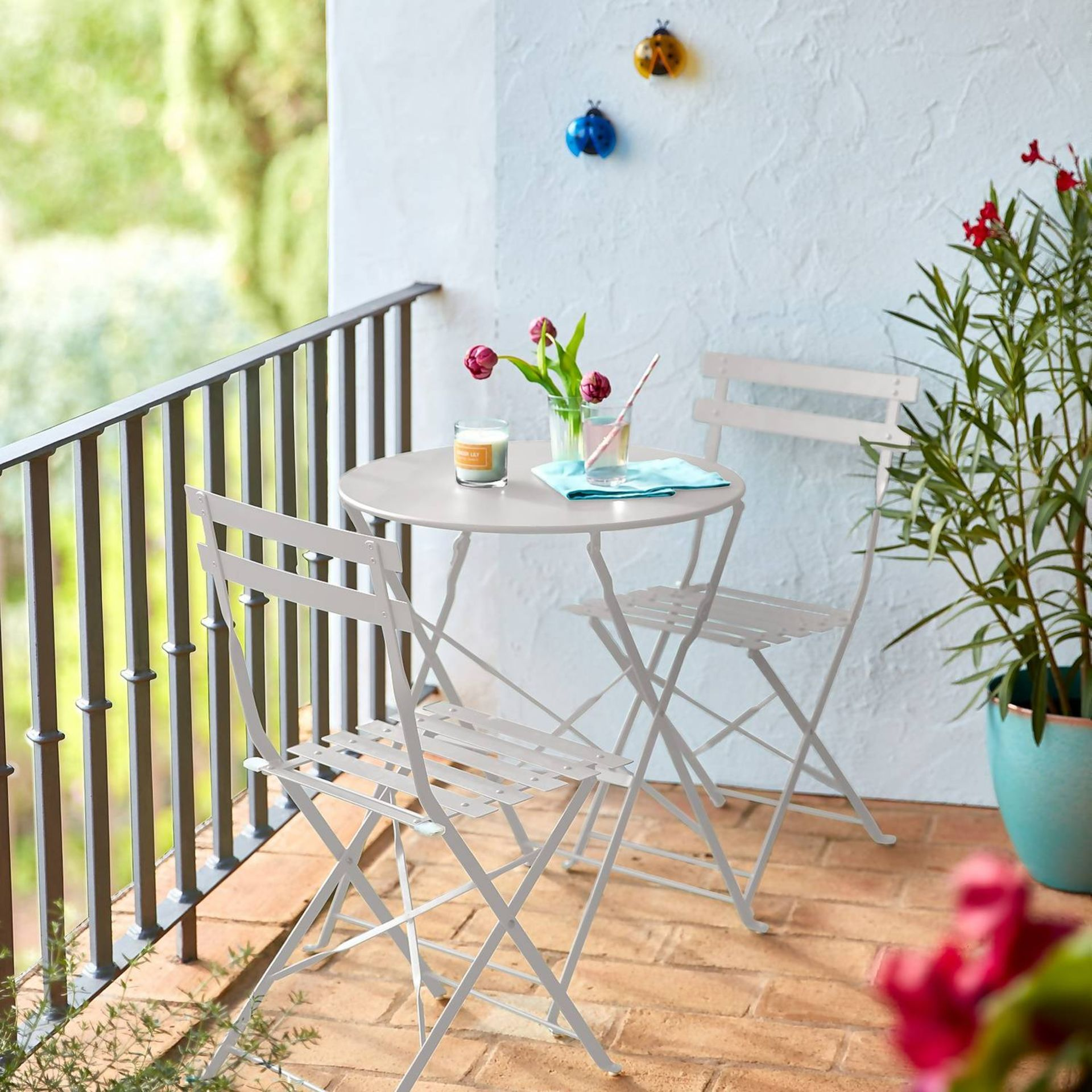 (P3) 1x Lazio Bistro Set Grey. Powder Coated Steel Frame. All Units Foldable For Easy Storage. (T - Image 2 of 3