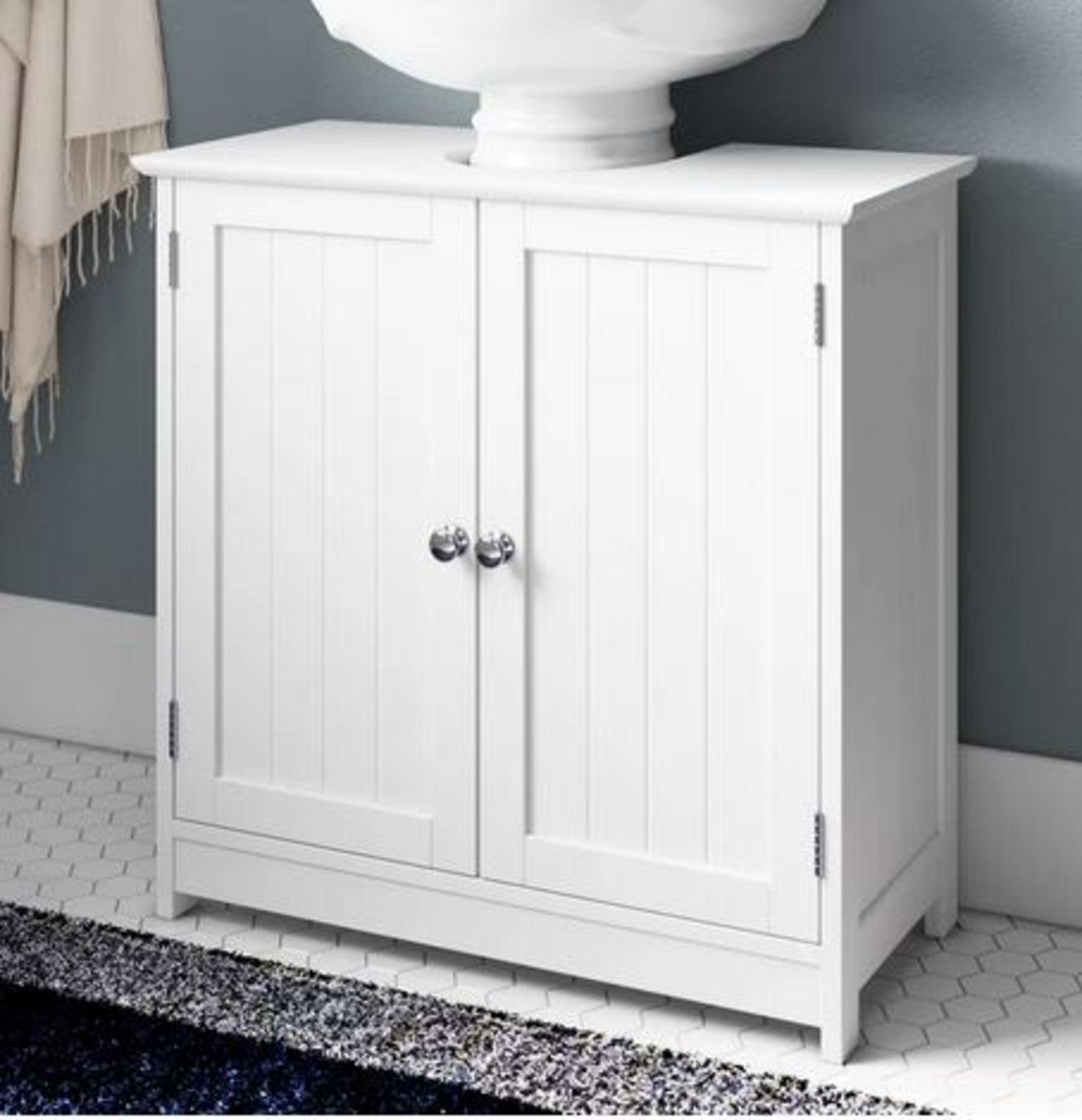 (P3) 1x White Classic Under Sink Double Unit. Paulownia Wood. White Painted Finish. 2 Doors, 1 Shel - Image 2 of 3