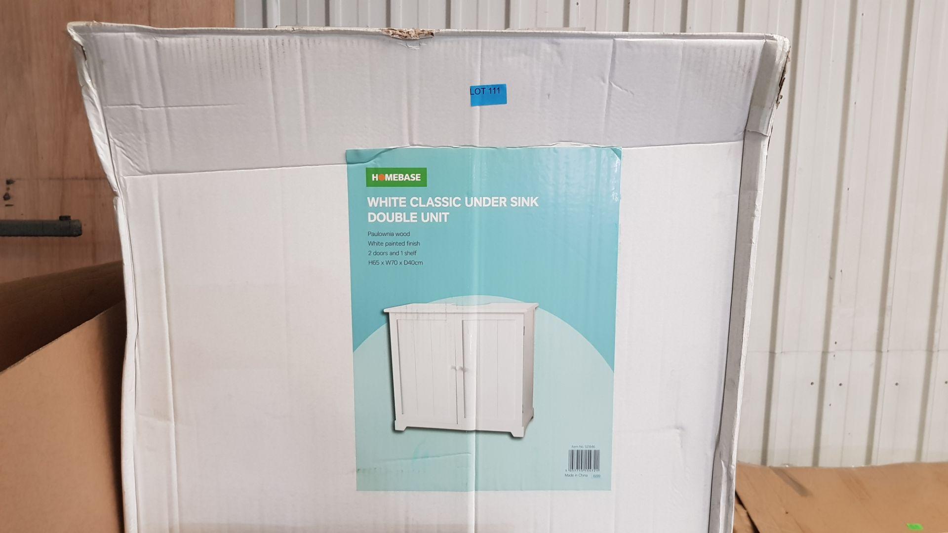 (P3) 1x White Classic Under Sink Double Unit. Paulownia Wood. White Painted Finish. 2 Doors, 1 Shel - Image 3 of 3