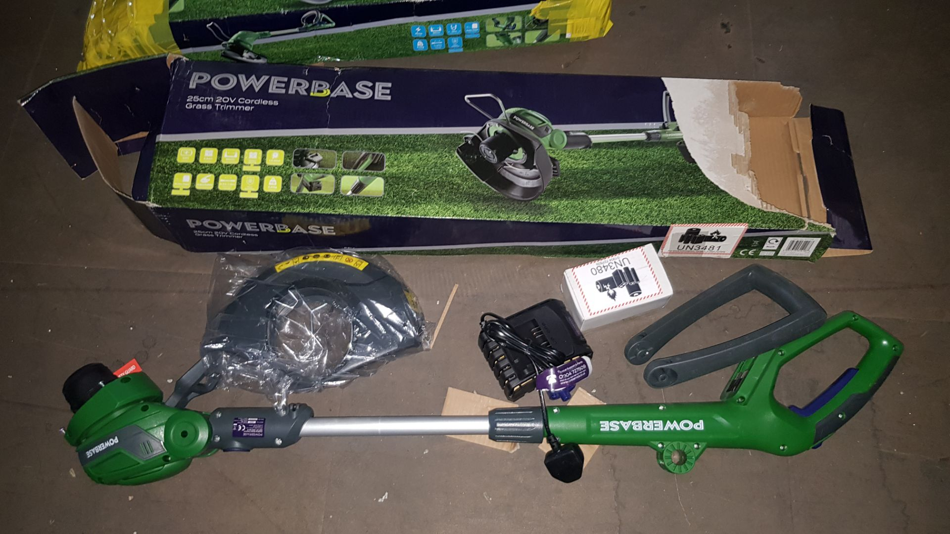 (P5) 2x Powerbase Items. 1x 25cm 20V Cordless Grass Trimmer RRP £59 (Unit Appears Clean, Unused Wit - Image 3 of 5