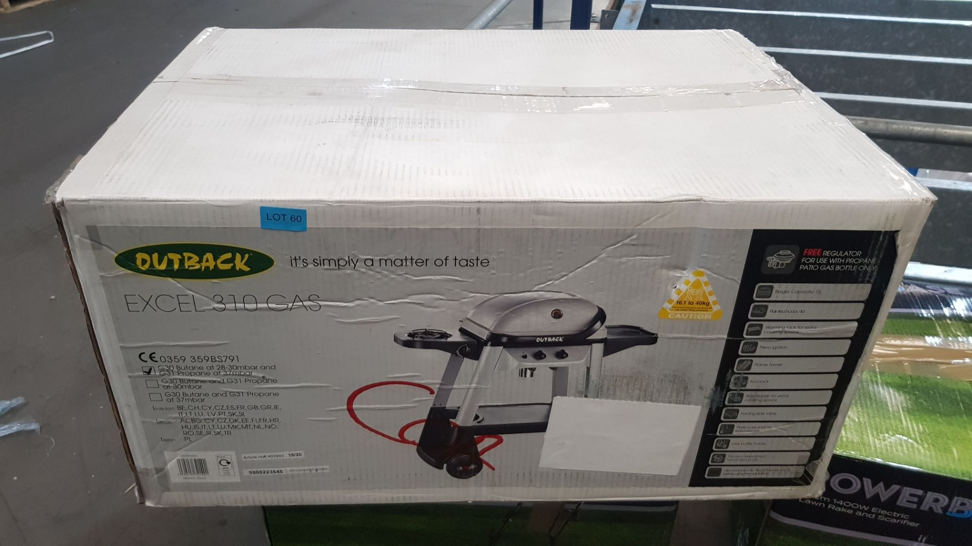 (P6) 1x Outback Excel 310 Gas BBQ Silver RRP £100. New, Sealed Unit, With Damage To Box On One Side - Image 2 of 5