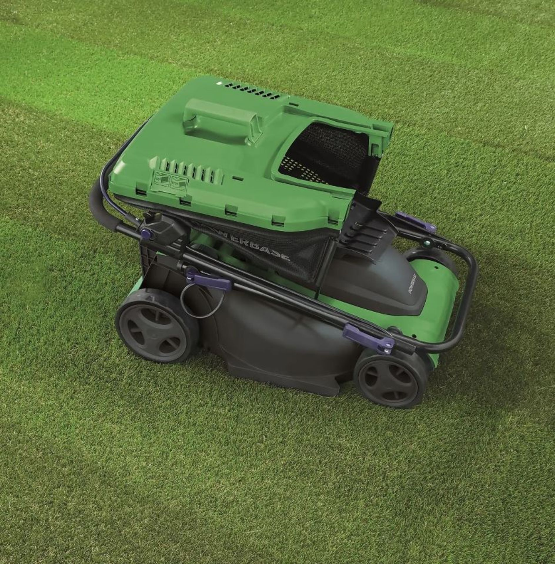 (P2) 2x Powerbase 37cm 1600W Electric Rotary Lawn Mower. RRP £99.00. - Image 2 of 3