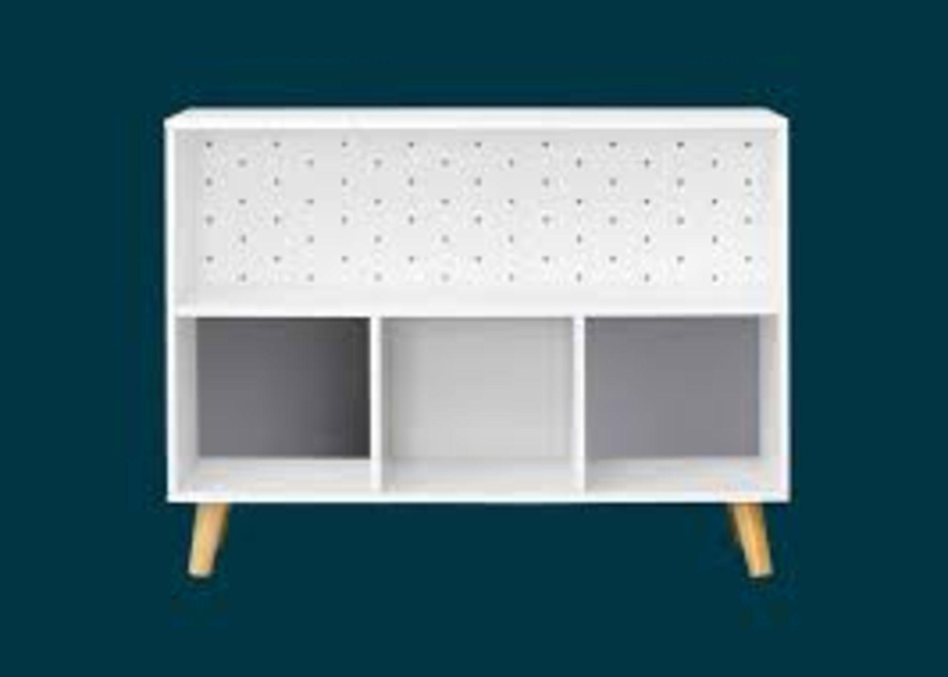 (P3) 1x Flexi Storage Kids Cube Unit With Legs White / Grey. (H580x W780x D280mm)