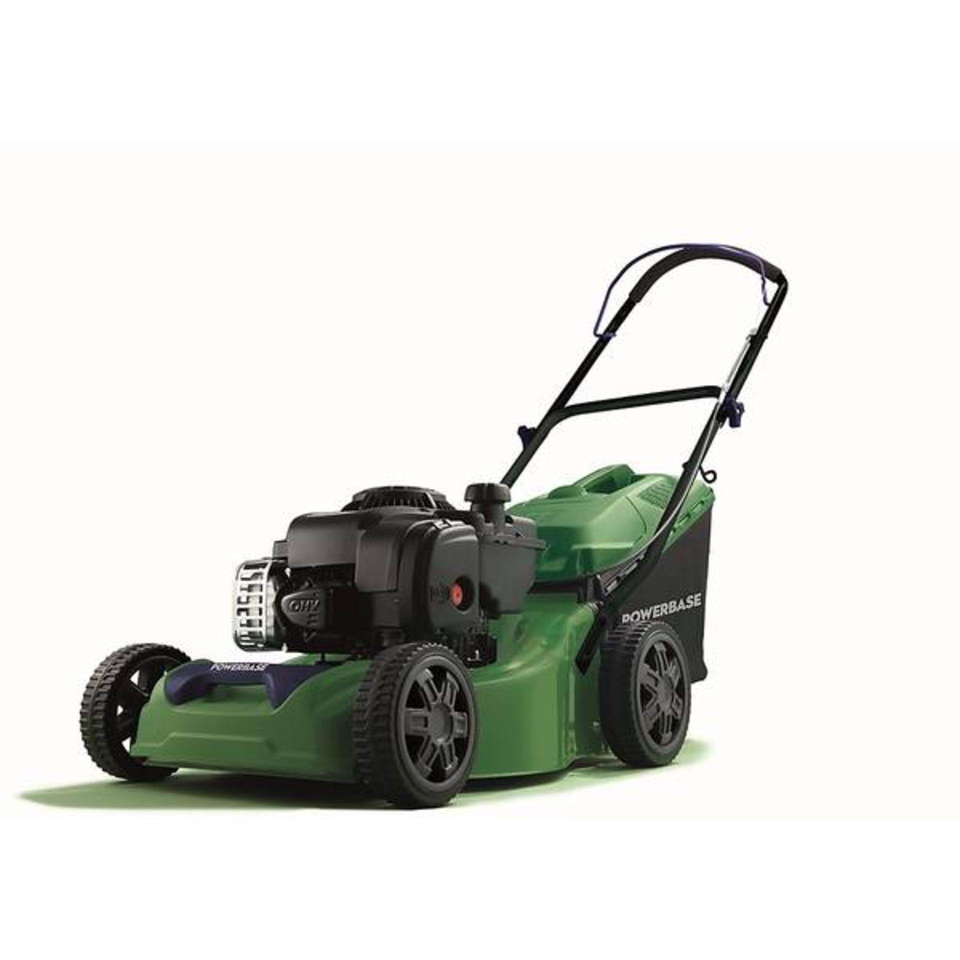 (P10) 1x Powerbase 41cm 125cc Push Petrol Rotary Lawn Mower (XSS41D) RRP £199. New, Clean Unused I