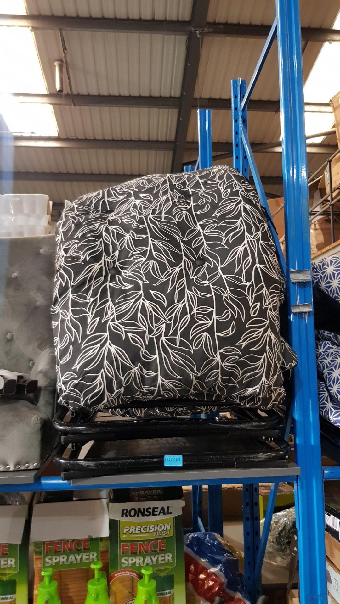 (3B) 2x Black White Floral Pattern Reclining Garden Chair