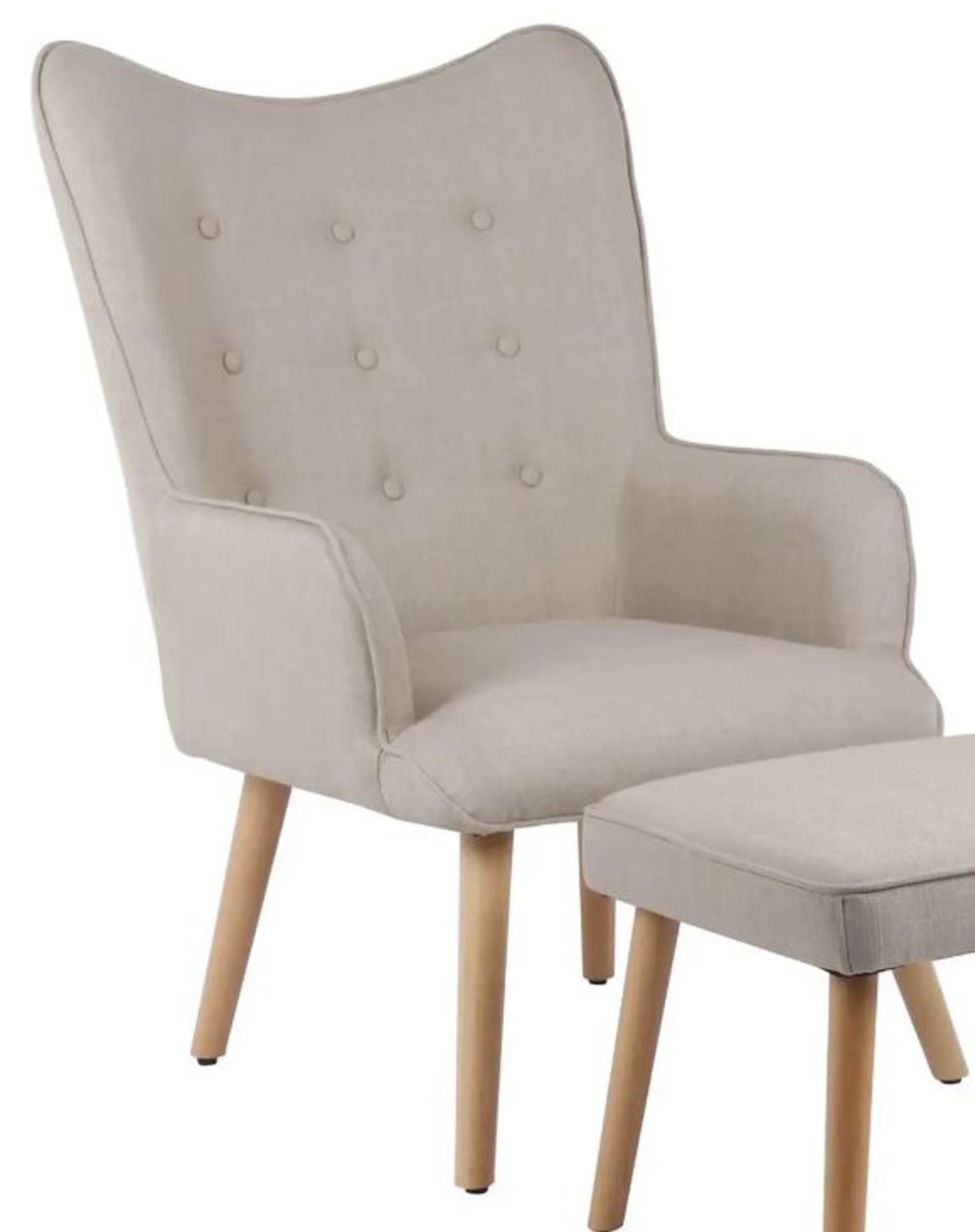(2I) 2x Leon Beige Lounge Chairs (Only 1x Leg Set With This Lot). Both Units Appear Clean, Unused.
