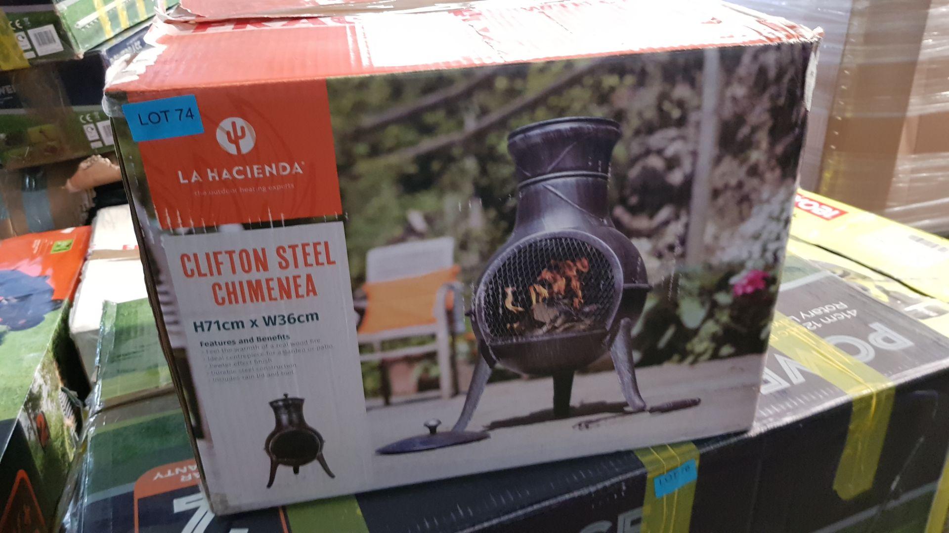 (P3) 1x La Hacienda Clifton Steel Chimenea. RRP £95.00. (H71x W36cm) - Image 3 of 3