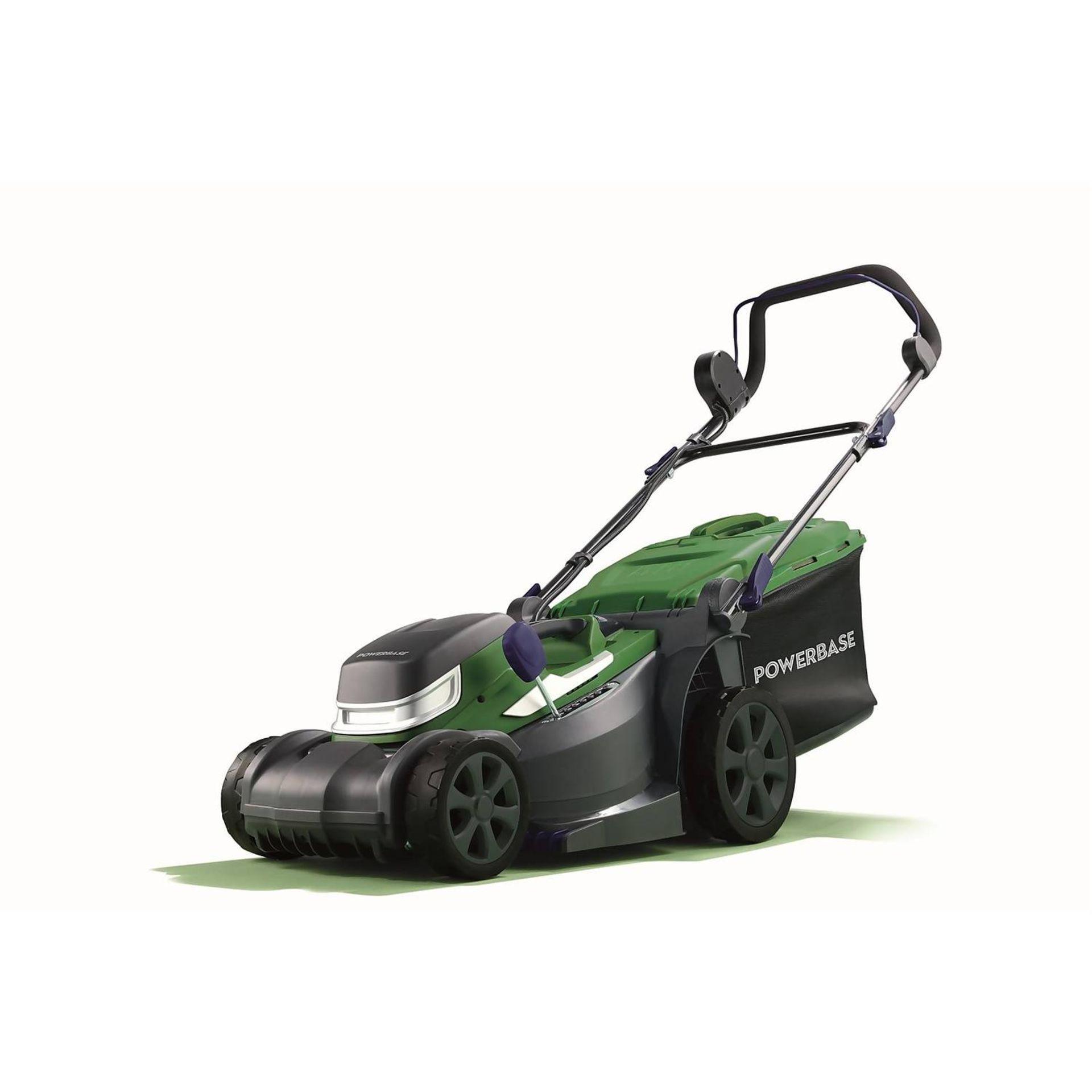(P7) 1x Powerbase 34cm 40V Cordless Lawn Mower RRP £169. New, Sealed Item.