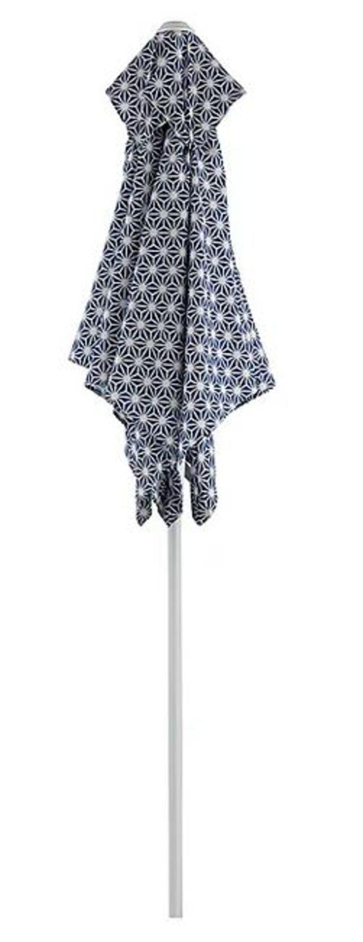 (2I) 3x Items. 2x Blue White Geometric Pattern Garden Recliners & 1x Matching Parasol.