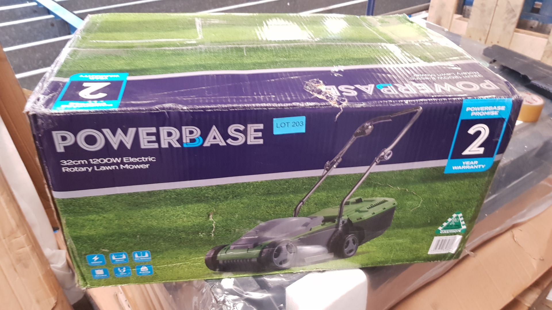 (P7) 1x Sovereign 32cm 1200W Electric Rotary Lawn Mower RRP £50. New, Sealed Unit With Very Slight - Image 3 of 5