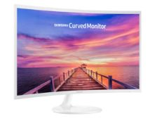 (13A) 1x Samsung Curved Monitor White (LC32F391FWUXEN) Monitor Has Damaged LCD But Still Displays