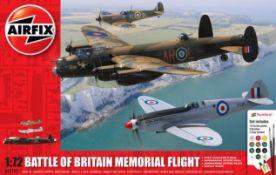(15G) 3x Model Kits. 1x Airfix Battle Of Britain Memorial Flight. 1x Meng US Cougar 6x6 MRAP Vehicl