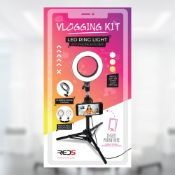 (14F) 9x Items. 3x Red5 Vlogging Kit LED Ring Light With Phone Holder. 1x Red5 FX-15 Quadcopter. 5X
