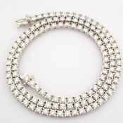 Certificated 18K White Gold Diamond Necklace (Total 11.1 Ct. Stone)