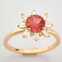 Certificated 14K Rose/Pink Gold Baguette Diamond & Diamond Ring (Total 1.27 Ct. Ston...