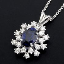 18K White Gold Diamond & Sapphire Pendant