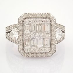 Certificated 14K White Gold Diamond Ring (Total 1.65 Ct. Stone)