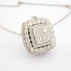 Certificated 14K White Gold Baguette Diamond & Diamond Earring (Total 2.92 Ct. Stone...