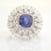 Certificated 14K White Gold Diamond & Sapphire Ring (Total 3.17 Ct. Stone)