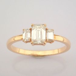 Certificated 14K Rose/Pink Gold Emerald Cut Diamond Ring (Total 0.77 Ct. Stone)