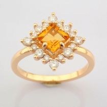 Certificated 14K Rose/Pink Gold Diamond & Citrin Ring (Total 0.97 Ct. Stone)