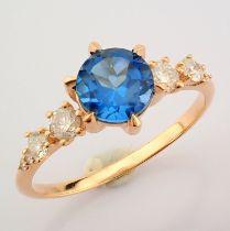 Certificated 14K Rose/Pink Gold Diamond & London Blue Topaz Ring (Total 1.3 Ct. Ston...