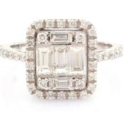 Certificated 14K White Gold Diamond Ring (Total 1.11 Ct. Stone)