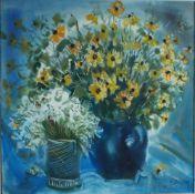 Büchsel, Elisabeth, 2 Vasen mit Blumen, Mischt., 58 x 58, sign.Büchsel, Elisabeth, 2 Vase