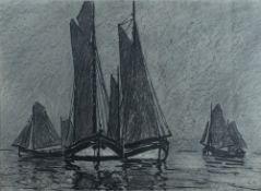 Arnheim, Clara, Fischerboote, Kohle, 41 x 57, monogr.Arnheim, Clara, Fischerboote, Kohle, 4