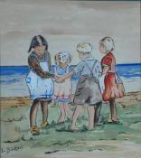 Büchsel, Elisabeth, Kinderreigen, Mischt., 18 x 16, sign.Büchsel, Elisabeth, Kinderreigen