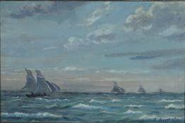 Arnheim, Clara, Segelboote, Öl, 27 x 41, sign.Arnheim, Clara, Segelboote, Öl, 27 x 41, si