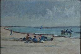 Arnheim, Clara, Fischer am Strand, Öl, 19 x 28, Nachl. Arnheim, Clara, Fischer am Strand, Öl, 19 x