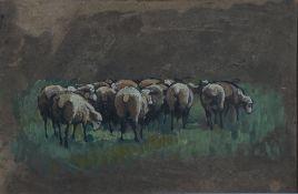 Eicken, Elisabeth von, Schafherde, Öl, 22 x 33, Nachl. Eicken, Elisabeth von, Schafherde, Öl, 22 x