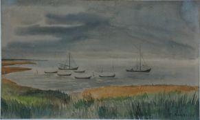 Arnheim, Clara, Boote vor der Küste, Mischt., 22 x 35, sign.Arnheim, Clara, Boote vor der
