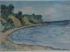 Dross, Lieselotte, Steilküste, 1942, Aquarell, 18 x 25, sign.